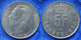 LUXEMBOURG - 5 Francs 1990 KM# 65 Jean (1964-2001) - Edelweiss Coins - Luxembourg