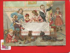 Ravissante Chromo Papier Fin Dîner Des Poupées  Enfant Poupée Chat Chien Polichinelle Appel Bognard ? 13cmx 9,5cm - Trade Cards