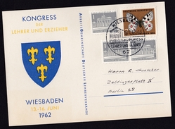 Germany: Postcard, 1962, 4 Stamps, Butterfly, Building, Cancel Teachers Conference (traces Of Use) - [7] West-Duitsland
