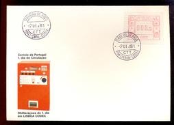 FDC PORTUGAL 002 -1194 LISBOA CODEX * TERREIRO DO PACO * 008.5 * 1981 * LABEL ATM FRAMA - ATM/Frama Labels