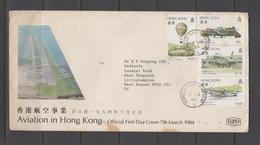 China, Hong Kong, FDC, First Day Cover, 1984 Aviation In Hong Kong - Hong Kong (...-1997)