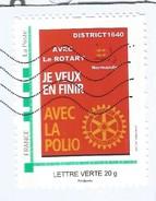 Timbre Personnalisé Collector Oblitéré Sur Lettre Avec Le Rotary Je Veux En Finir Avec La Polio - France