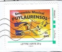 Timbre Personnalisé Collector Oblitéré Sur Lettre 25 Ans Ensemble Musical Puylaurensol Saxo Trompette