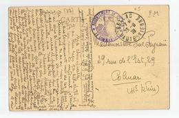 Marcophilie - Cachet Recrutement De Colmar 1939 Fm, De Bellac 87 Cirque Peyrat Moulin De Chelipeau Haute Vienne - Marcophilie (Lettres)