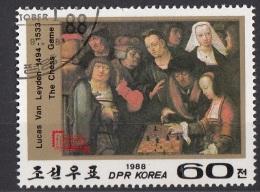 """2778 DPR.Korea 1988 """"La Partita A Scacchi"""" Quadro Dipinto Da L. Van Leyden Paintings Preobliterato - Scacchi"""