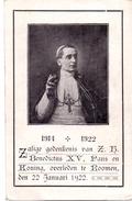 Devotie - Devotion - Benedictus XV - Paus En Koning Overleden Te Rome 22/01/1922 - Obituary Notices