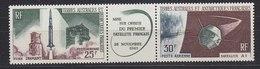 TAAF 1966 Fusée Diamant & Satellite A1 Strip 2v + Label (unfolded) ** Mnh (34827D) - Unused Stamps