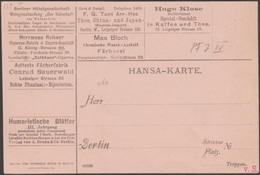 Berlin 1886. Carte Publicitaire, Poste Privée Hansa. Vins De Bordeaux, Hôtel, Thé De Chine Et Du Japon, Cigares, Chimie
