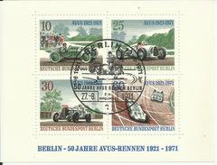 """Berlin Bl. 3 """"50 Jahre AVUS-Rennen 1921-1971 """" Ersttagssonderstempel  Mi.: 1,80 €"""