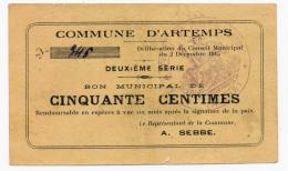 1914 - 1918 // Ville D' ARTEMPS //  Bon De 50 Cts - Bons & Nécessité