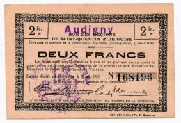1914 - 1918 // Ville D' AUDIGNY //  Bon De 2 Francs - Bons & Nécessité