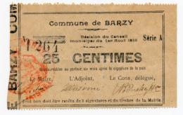 1914 - 1918 // Ville De BARZY / Cachet Rouge //  Bon De 25 Cts - Bons & Nécessité