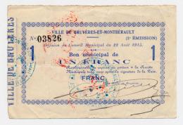 1914 - 1918 // Ville De BRUYERES ET MONTBERAULT / 08/1915 //  Bon De 1 Franc - Bons & Nécessité