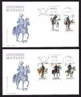 ESPAÑA 1977 DOS SOBRES PRIMER DIA  MADRID  UNIFORMES MILITARES. - 1931-Aujourd'hui: II. République - ....Juan Carlos I
