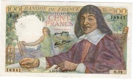 Superbe Billet De 100 Francs Type DESCARTES Daté Du 15.5.1942 - 1871-1952 Anciens Francs Circulés Au XXème