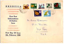 Lettre De Rhodésie (09.02.1966)_ FDC_ Pour Vila Pery Mocambique_tabacco_Maize_emeralds_Lily - Rhodésie (1964-1980)