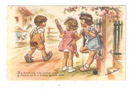 CPA Illustration BOURET 2 Filletes 1 Garçon Il A Demandé Ma Main Mais Je Trouve Qu'il A De Trop Grands Pieds - Bouret, Germaine