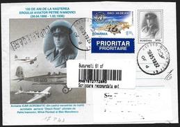 Romania/Roumanie: Intero, Stationery, Entier, Registered, Volo Acrobatico, Flight Acrobatic, Vol Acrobatique - Timbres