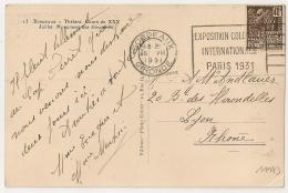 BORDEAUX Gironde, EXPOSITION COLONIALE PARIS 1931 Sur 40c FACHI. BOR 218. - Oblitérations Mécaniques (flammes)