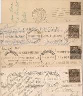 4 Mécaniques, CHAMONIX, BOURGES, ST NAZAIRE Et BOURG EN BRESSE Sur 40c FACHI. 1931. - Oblitérations Mécaniques (flammes)