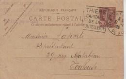 Yvert 139 CP2 Semeuse Date 430 Cachet Flamme Daguin Thiers Puy De Dôme 1925 Pour Toulouse - Entiers Postaux
