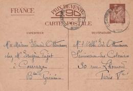 Yvert Sans Valeur CP1 Iris Cachet COARRAZE Basses Pyrénées 1941 Pour Paris - Ganzsachen