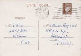 Yvert 512 CP2 Pétain Cachet Flamme Paris Gare St Lazare 18/12/1941 Pour Mazamet Tarn - Entiers Postaux