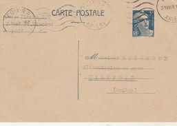 Yvert 719B CP1 Gandon Cachet Flamme FOIX Ariège 31/8/1948 Pour Mirepoix - Postal Stamped Stationery