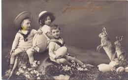 Fantasie Fantaisie - Joyeuses Paques - 3 Enfants & Lièvres - 3 Kinderen Met Paashaas - Verstuurd 1911 - Pâques