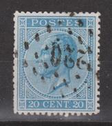 Belgie, Belgique, Belgium 1865 Leopold I 20 Centimes Blauw Michel 15 Cancel 220 - 1865-1866 Linksprofil