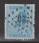 Belgie, Belgique, Belgium 1865 Leopold I 20 Centimes Blauw Michel 15 Cancel 220