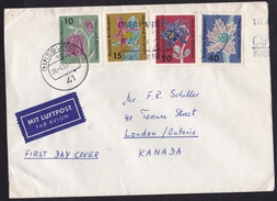 Germany: Airmail Cover To Canada, 1963, 4 Stamps, Flowers, First Day Of Use, Air Label (traces Of Use) - [7] West-Duitsland