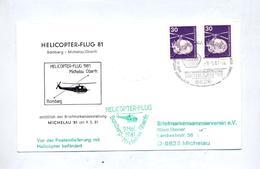 Lettre Vol Helicoptere Bamberg Michelau  Avec Vignette Cachet Arrivee + Don Du Sang