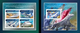 Maldives 2016, Airplanes, Concorde, 4val In BF +BF IMPERFORATED