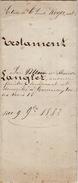 Ville De Tournai Acte Testament Famille Langlet Ladsous 1882 - Documentos Históricos