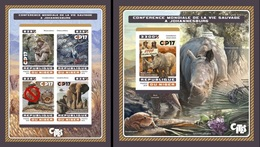 Niger 2016, Animals, Elephant, Monkey, Parrots, Croccodiles, 4val In BF +BF IMPERFORATED
