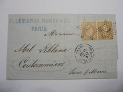 LOT DE 3 FOIS 2 TIMBRES NAPOLEON III 10 C DENTELES SUR LETTRE 1867 OBLIT ABBEVILLE  Etc - 1853-1860 Napoléon III