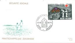 BELGIUM - 18.10.1970 - FDC - MAATSCHAPPELIJKE ZEKERHEID  P.311 - COB 1555  -  Lot 15189