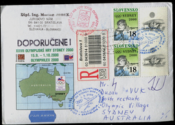 559-SLOVAKIA R-Kuvert-cover With Imprint SYDNEY Olympia-departure Of The Team, OLYMPHILEX, Commemorative Stamp 2000 - Summer 2000: Sydney