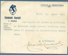 SINDACATI FASCISTI ZONA FORLÌ FIUMANA PREDAPPIO BIGLITTO AUTOGRAFONDEL SEGRETARIO CECCARELLI 28/3/1926 - Cartoncini Da Visita