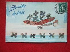 """BONNE ANNEE - CARTE CONFECTIONNEE AVEC DE TIMBRES -"""" AVION """" - - New Year"""