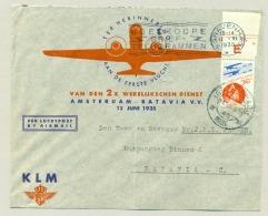 Nederland - 1935 - LP-zegel Kon. Wilhelmina Met Plaatnummer 451 Op Cover Naar Batavia / Nederlands Indië