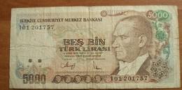 1970 - Turquie - Turkey - 5000 BES BIN TURK LIRASI, I01 201757 - Turquie