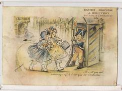 GERMAINE BOURET    Cadre Avec Verre    24 X 17 Cm    Militaire    Pub Boucherie Geoffroy à La Chapelle Sous Rougemont - Bouret, Germaine