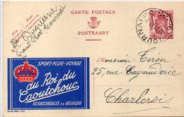 """Sport - Pluie - Voyage   """"AU ROI DU CAOUTCHOUC"""" - Entier Postal Belge Avec Cachet De TOURNAY  (95004) - Publicité"""