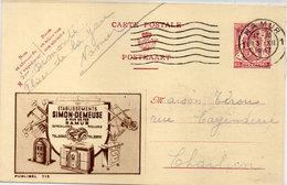 """Etablissements """"SIMON-DEMEUSE"""" NAMUR - Entier Postal Belge Avec Cachet De NAMUR     (95011) - Pubblicitari"""