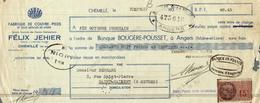 LETTRE DE CHANGE  FABRIQUE DE COUVRE PIEDS  FELIX JEHIER - Bills Of Exchange
