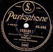 78 T. 25 Cm - état B - TOSCANI - COUCOU - JE VOUDRAIS T'OUBLIER - 78 T - Disques Pour Gramophone