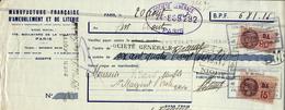 LETTRE DE CHANGE MANUFACTURE FRANCAISE D AMEUBLEMENT ET DE LITERIE - Bills Of Exchange