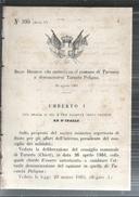 TARANTA PELIGNA-CHIETI.REGIO DECRETO.CHE AUTORIZZA IL COMUNE DI TARANTA A DENOMINARSI.TARANTA PELIGIA.1881-MM.143 - Decreti & Leggi